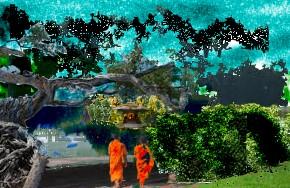 Wanderweg mit See und Insel